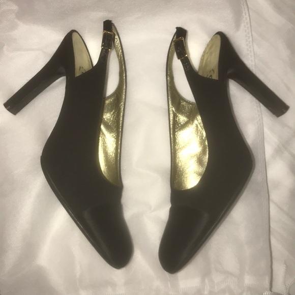 fb098e7596 CHANEL Shoes | Authentic Black Two Tone Slingback Heels | Poshmark